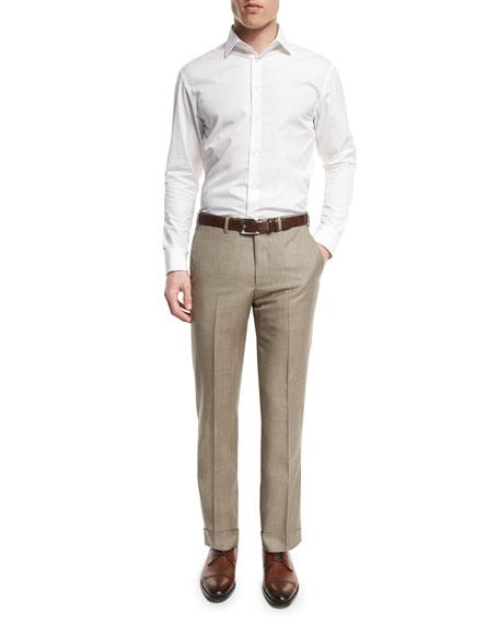 Flat-Front Wool Trousers, Tan