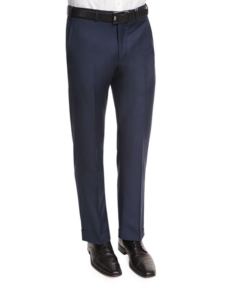 Armani Collezioni Flat-Front Wool Trousers, Navy