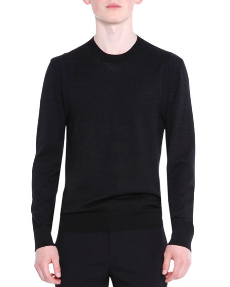 Lanvin Crewneck Wool/Silk Knit Sweater, Black
