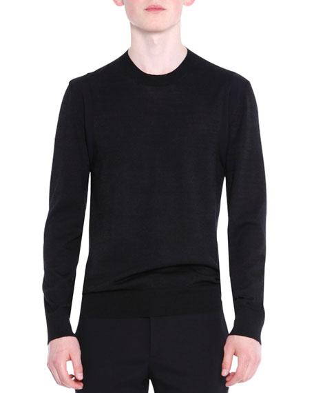 Crewneck Wool/Silk Knit Sweater, Black