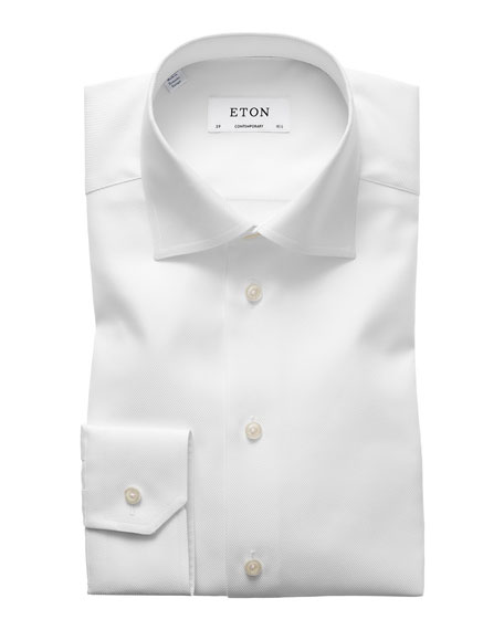 Eton Contemporary-Fit Cavalry Twill Dress Shirt, White
