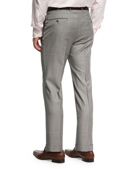 Sharkskin Trofeo® Wool Flat-Front Trousers, Light Gray
