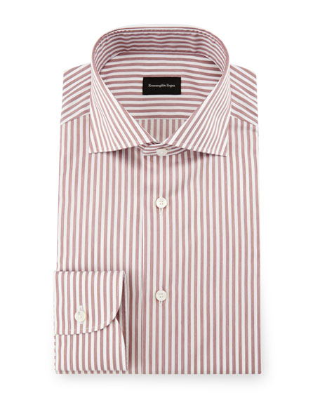 Ermenegildo Zegna Bold-Stripe Dress Shirt, Burgundy/White