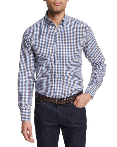 Check-Plaid Long-Sleeve Sport Shirt, White
