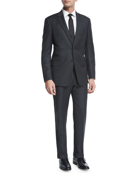 Giorgio Armani Birdseye Two-Piece Wool Suit, Charcoal