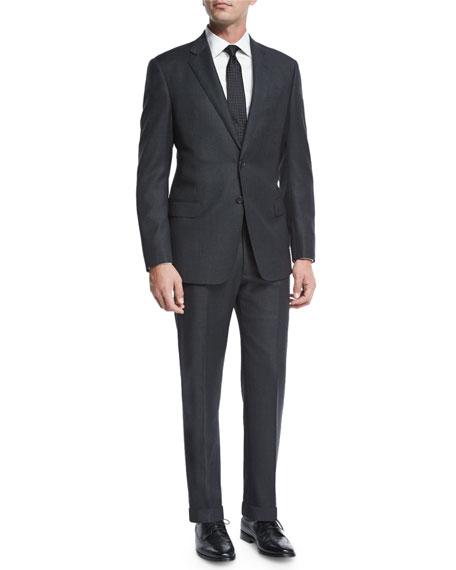 Giorgio Armani Birdseye Two-Piece Wool Suit, Charcoal