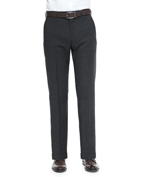 Wool Pindot Trousers, Dark Brown/Olive