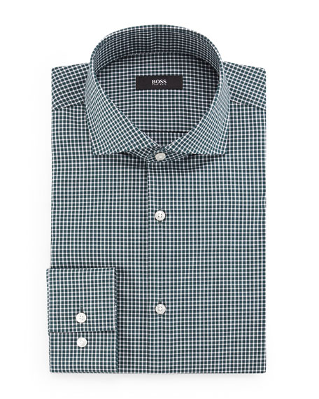 BOSS Jason Slim-Fit Mini-Gingham Dress Shirt, Green