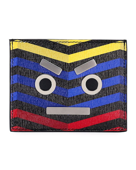 Face Chevron Leather Card Case
