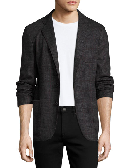 Glen Plaid Virgin Wool Soft Blazer, Charcoal