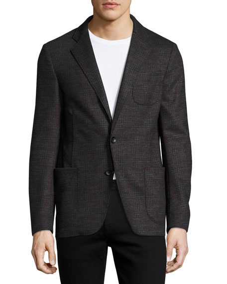 Armani Collezioni Glen Plaid Virgin Wool Soft Blazer,