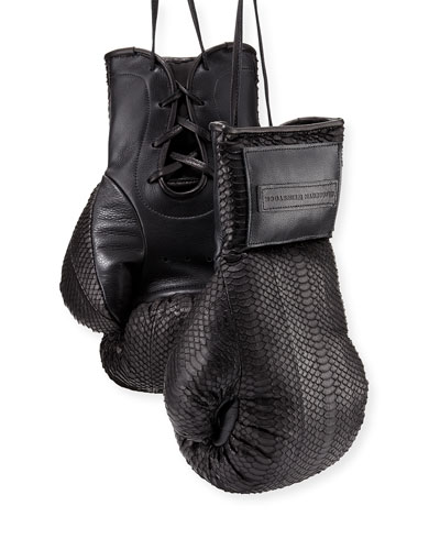 Matte Watersnake Boxing Gloves, Black