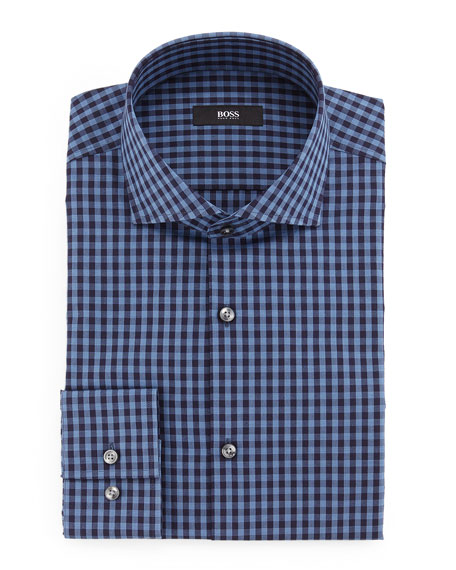 BOSS Jason Slim-Fit Mini-Gingham Dress Shirt, Blue