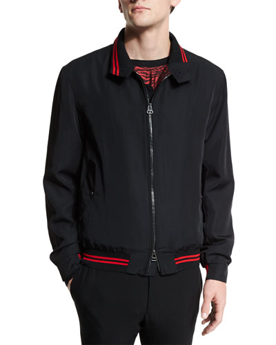 Zip-Up Bomber Jacket with Striped Trim, Black