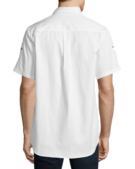Button-Down Short-Sleeve Shirt with Patches, White/Black