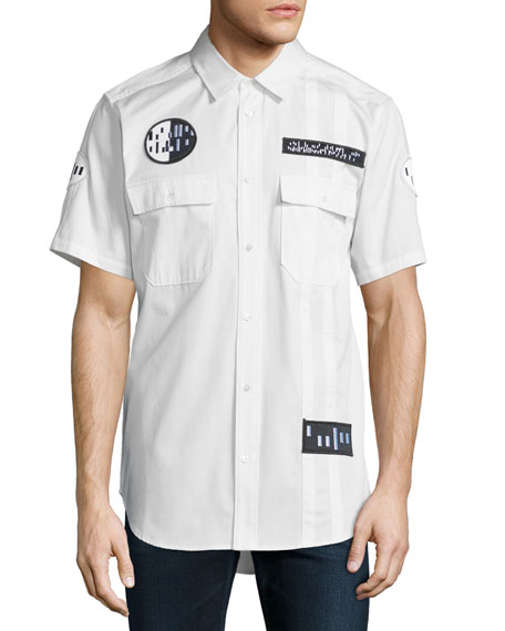 Alexander Wang Button-Down Short-Sleeve Shirt with Patches,