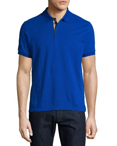 Short-Sleeve Oxford Polo Shirt, Blue