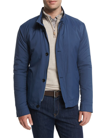 Peter Millar Mayfair Nylon Bomber Jacket, Blue