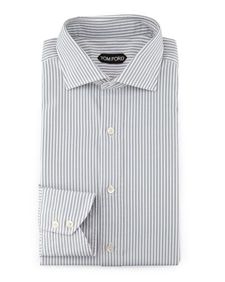 Striped Button-Down Shirt, Gray/White