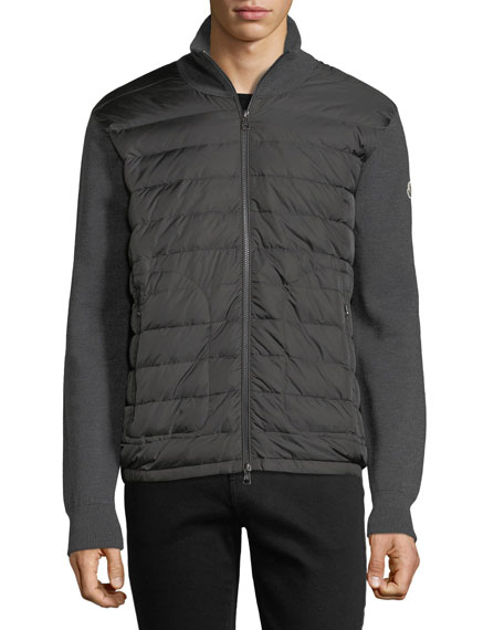 Moncler Zip-Front Jacket w/ Down Front, Charcoal