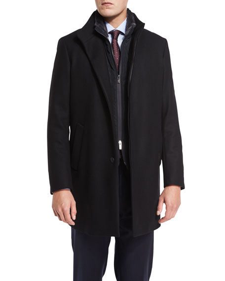 Armani Collezioni 3-in-1 Boiled Wool-Cashmere Coat, Navy