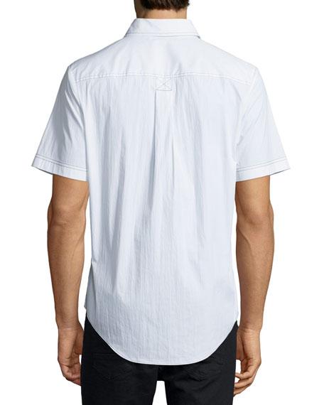 Contrast-Stitch Short-Sleeve Shirt, White