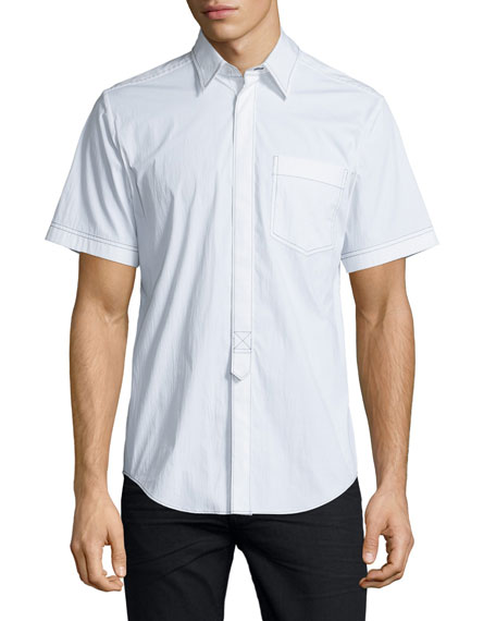 Contrast-Stitch Short-Sleeve Shirt, White