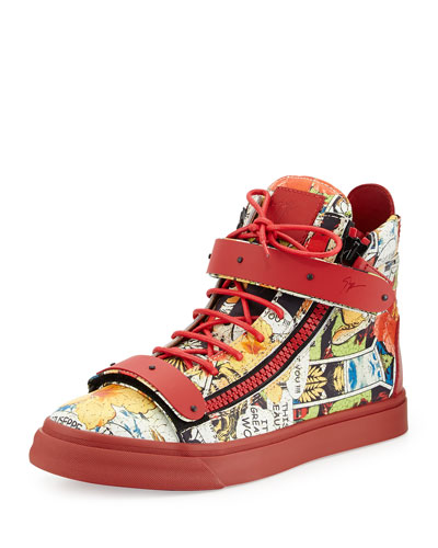 Men's Comic Strip High-Top Sneakers, Red