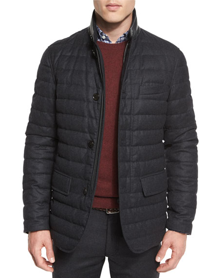 Ermenegildo Zegna Flannel Wool Channel-Quilted Down Jacket