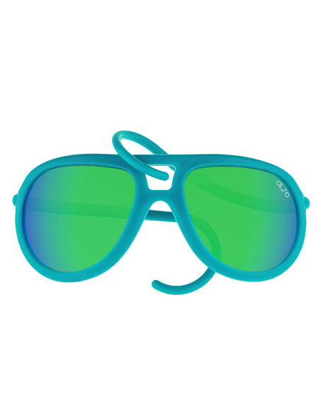 Alero Drop Universal Fit Rubber Aviator Sunglasses, Cobalt/Green