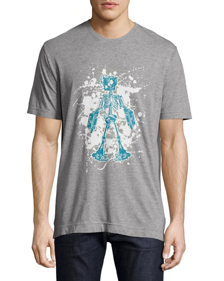 Robert Graham Skeleton Robot Graphic T-Shirt, Heather Gray