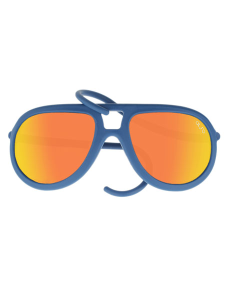 Alero Drop Universal Fit Rubber Aviator Sunglasses, Blue/Orange