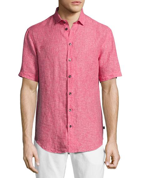 Mélange Linen Short-Sleeve Sport Shirt, Pink