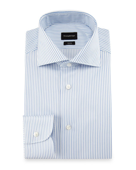 Ermenegildo Zegna Trofeo® Double-Stripe Dress Shirt, White/Blue