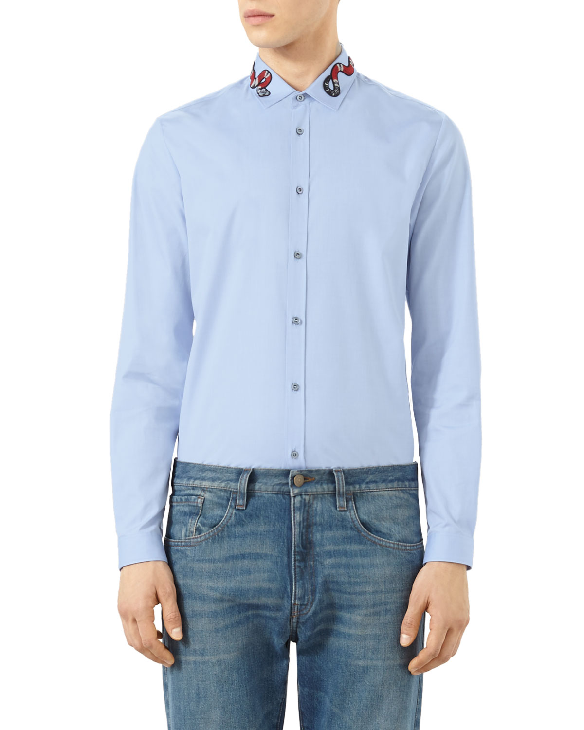 3bae48b5a Gucci Snake-Embroidered Button-Down Shirt, Blue | Neiman Marcus