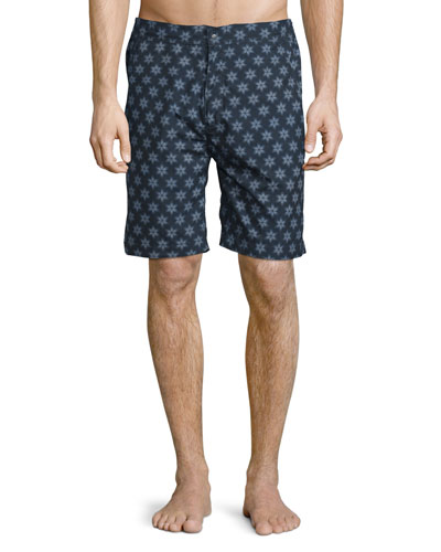 Fiji Sunburst-Print Swim Trunks, Navy