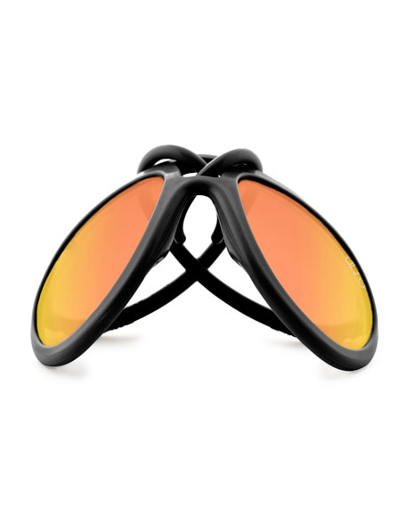 Drop Universal Fit Rubber Aviator Sunglasses, Black/Orange