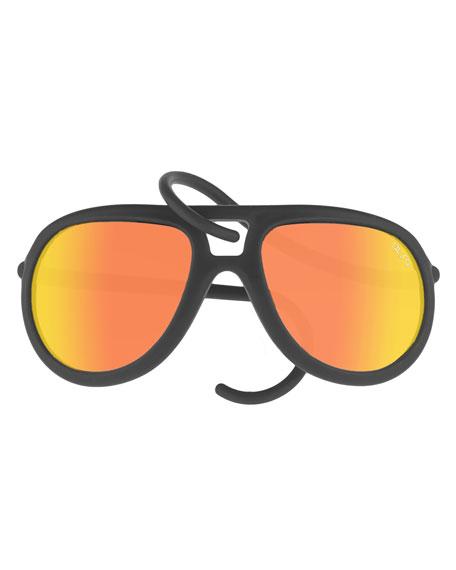 Alero Drop Universal Fit Rubber Aviator Sunglasses, Black/Orange