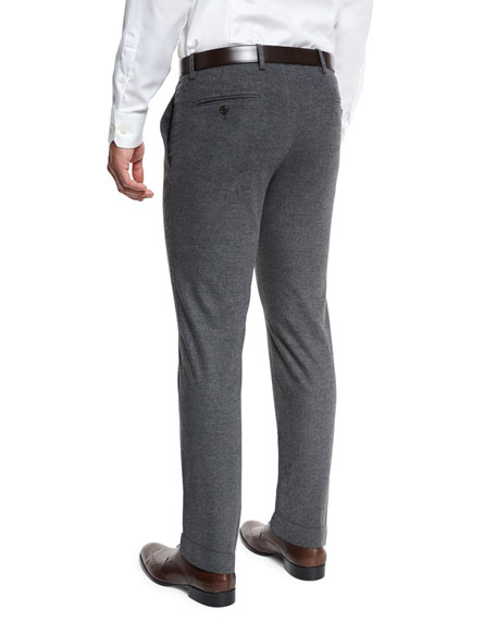 Melange Flat-Front Trousers, Gray