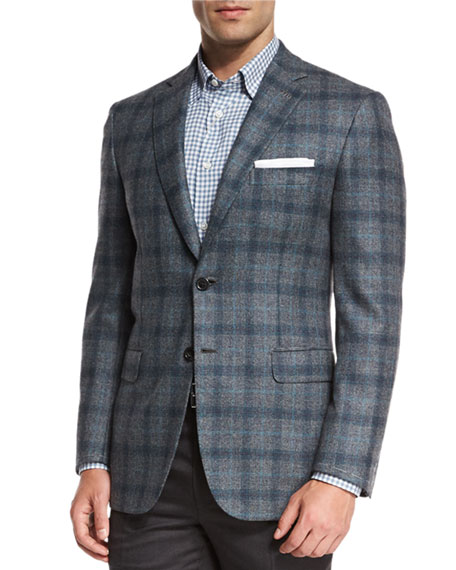 Plaid Two-Button Sport Coat, Gray/Green