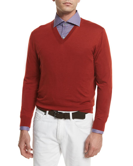 Ermenegildo Zegna High-Performance Wool Sweater, Orange