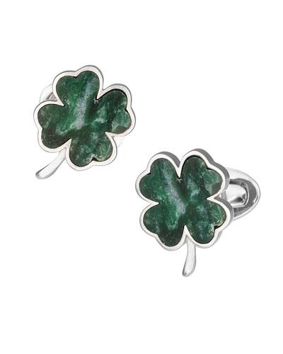 Green Onyx Clover Cuff Links