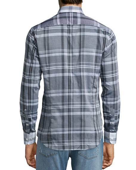 Plaid Sport Shirt with Contrast Collar, Multi