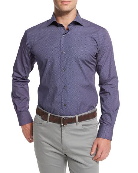 Poppy-Print Long-Sleeve Sport Shirt, Navy