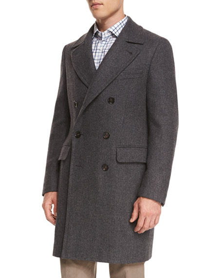 Isaia Double-Breasted Herringbone Wool Topcoat