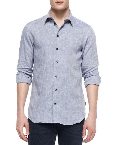 Melange Long-Sleeve Linen Shirt, Blue