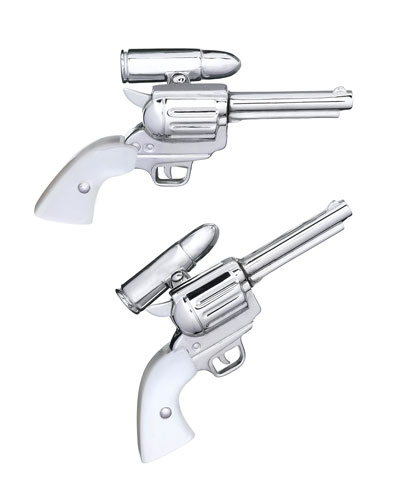 Silver Gun Cuff Links