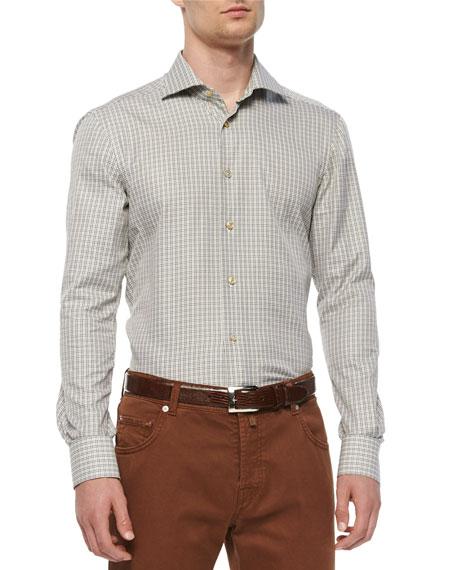Kiton Check Long-Sleeve Woven Shirt, Olive/Tan