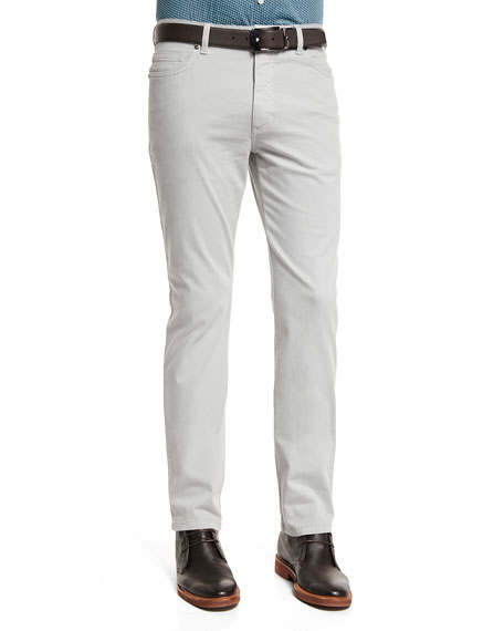 Ermenegildo Zegna Five-Pocket Stretch-Cotton Pants, Putty