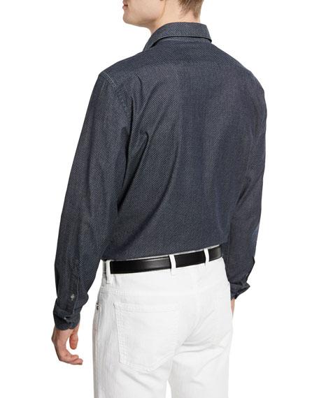 Jacquard Long-Sleeve Denim Sport Shirt, Dark Indigo